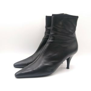 PRADA Womens Ankle Boot Black Leather Zip 10.540.5